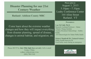 Rutland/Addison County MRC: Disaster Planning for our 21st Century Weather @ Leahy Conference Center, Rutland Regional Medical Center | Rutland | Vermont | United States